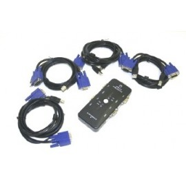4-PORT USB 2.0 & VGA/SVGA KVM SWITCH BOX with 4 SETS OF CABLES