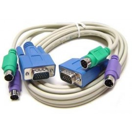 KVM 3-in1 Male to Male PS/2 & SVGA/VGA Connectors 6ft Cable