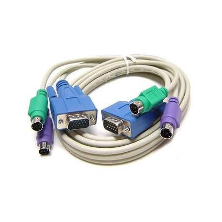 KVM 3-in1 Male to Male PS/2 & SVGA/VGA Connectors 2mtrs Cable