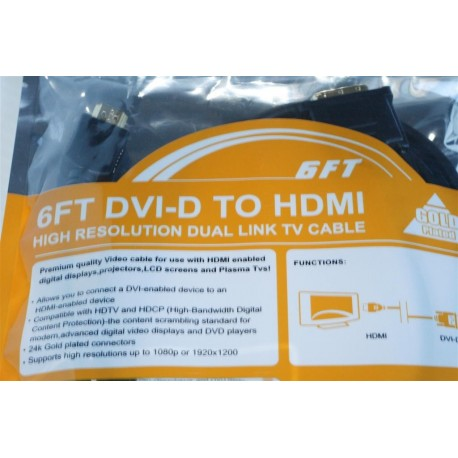 HDMI to DVI-D, Male-Male connectors Digital Video / Audio HDTV Gold Plated 6ft Cable