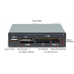 Sabrent 7 SLOT USB 2.0 Internal Multi Flash Media Card Reader - USB 2.0, Black, 3.5