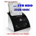 "SATA 2.5"" & 3.5"" Hard Drive Dock (eSATA/USB 2.0) With All-in-One Card Reader & USB 2.0 Hub"