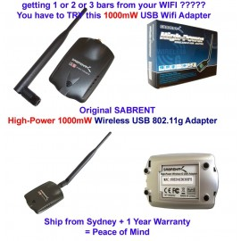 Sabrent HIGH-POWER 1000MW WIRELESS USB 802.11G ADAPTER WITH 7″ FOLDING BOOSTER 6DBI