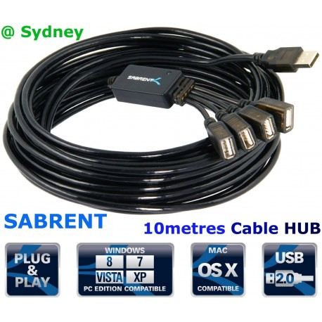 Sabrent 10 Metres USB 2.0 ACTIVE EXTENSION CABLE TYPE A MALE TO TYPE A FEMALE