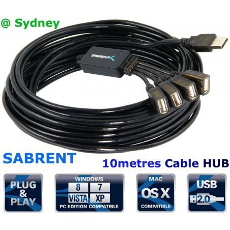 Sabrent 10m Metres 4-Port USB 2.0 Active Extension Flexible Hub - CB-HUB4 @ Syd