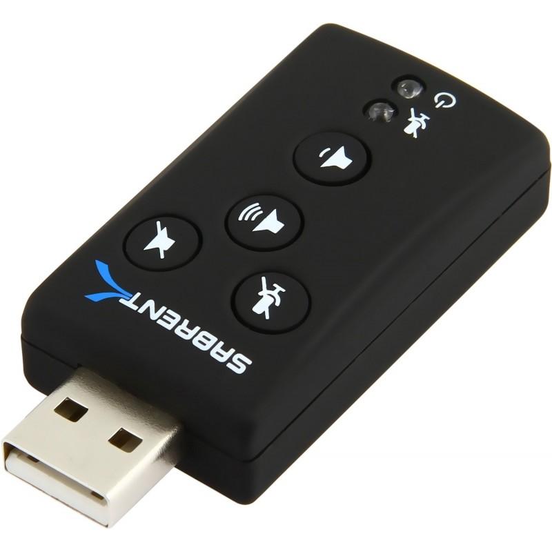 Sabrent USB 2.0 Virtual External 7.1 3D Surround Sound Card Adapter - USB-AUDD
