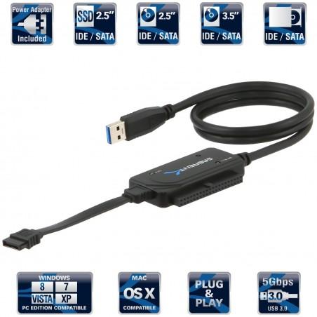 "SABRENT USB 3.0 TO SSD /IDE 2.5/3.5"" SATA HDD Converter PowerSupply 4TB USB-DSC9"