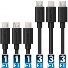 Sabrent 6-Pack 22AWG Premium Micro USB High Speed Cables (3x 1m + 3x 0.5m)