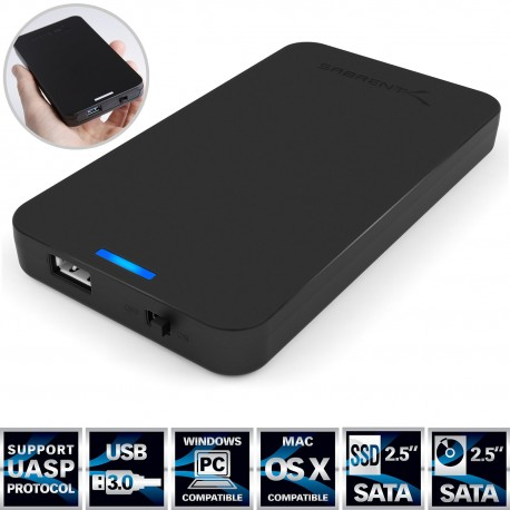 Sabrent 2.5-Inch SATA to USB 3.0 Tool-free External Hard Drive Enclosure [Optimized For SSD, Support UASP SATA III]