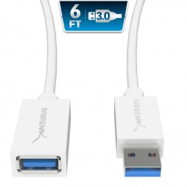 Sabrent 1.8M 22AWG USB 3.0 Extension Cable A-Male to A-Female CB-306W [white]