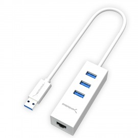 SABRENT 3-Port USB 3.0 HUB with RJ45 10/100/1000 Gigabit Ethernet Port (HB-NTUW)