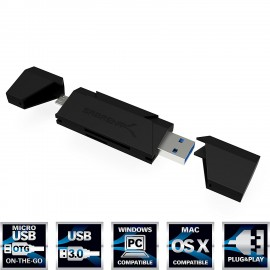 Card Reader USB 3.0 2-Slot Micro USB OTG [Black] (CR-UMMB) Sabrent