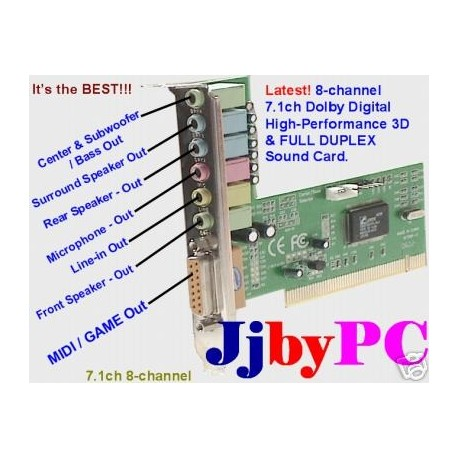 8-Channel 7.1 High-Performance Surround Sound 3D PCI Sound Card